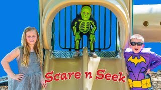 Download Assistant and Batboy Scare and Seek with Inflateable Dinosaur and Baby Skeleton Video
