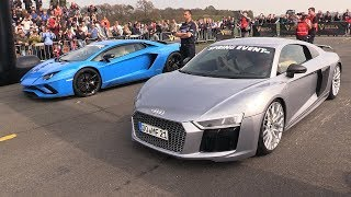 Download Audi R8 V10 Plus vs Lamborghini Aventador S vs Mercedes-AMG E63s Video