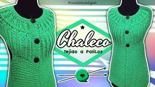 Download CHALECO ELEGANTE TEJIDO A PALITOS #4 EN PUNTO INGLES Y MUSGO  Canela♥ Video