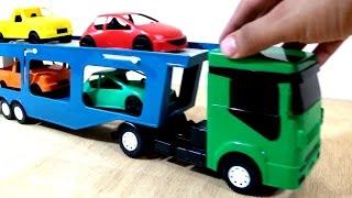 Download Caminhão cegonha de brinquedo com carrinho de brinquedo - Aprender cores para crianças Video