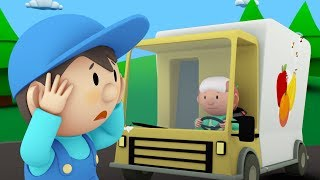 Download Carl's Car Wash | Carl Cleans a Fruit Truck, a Police Car and a Garbage Truck | Cartoon for kids Video