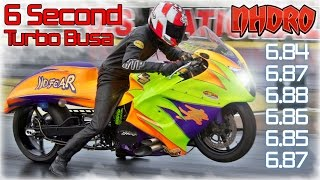 Download 6 second turbo Suzuki Hayabusa, ″NO FEAR″ Pro Street motorcycle Video