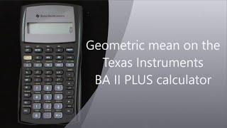 Download Geometric mean on the TI II Plus calculator Video