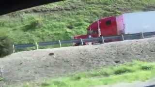 Download Semi-truck brakes fail and uses emergency runaway truck lane Video
