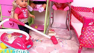 Download Baby Doll Washing Machine Laundry toys - Baby Dolls messy feeding vacuum cleaner doll house toys Video