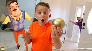 Download Hello Neighbor Challenge!! Sneaking Into Our House Treasure Hunt! Video