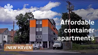 Download Stacked cargo containers in New Haven's ″LEGO″ apartments Video