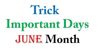 Download Trick June Month Important Days Video