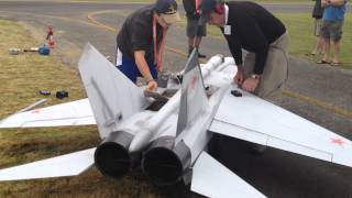 Download Worlds Largest Mig 25 RC Scale Twin Turbine Jet Powered model airplane Starting Up Video