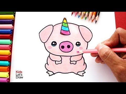 Cómo dibujar un Cerdito Unicornio (Cerdicorn) | How to draw a Unicorn Pig