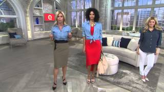 Download G.I.L.I. Button Front Tencel Denim Shirt with Roll Sleeves with Leah Williams Video