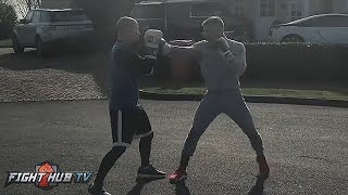Download Conor McGregor working on his hands & boxing movement ahead of potential Floyd Mayweather bout Video