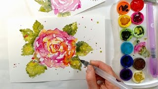 Download Loose Vintage Rose Watercolor Tutorial Video
