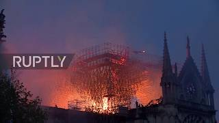 Download France: Macron arrives at Notre Dame as flames engulf cathedral Video