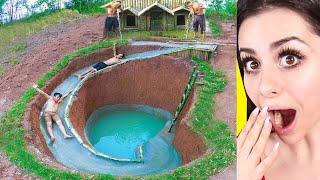 Download Kids Build AMAZING Water Slide Around Their SECRET UNDERGROUND HOUSE ! Video