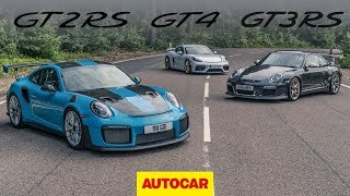 Download Greatest Porsche GTs: 718 Cayman GT4 meets 911 GT2 RS and GT3 RS | Autocar heroes Video