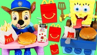Download PAW PATROL Feeding Baby Chase McDonalds Happy Meal SpongeBob SquarePants Grills Burgers for Chase! Video