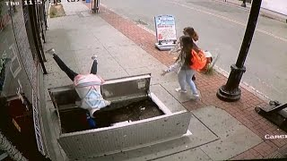 Download Woman, 67, Falls Into Basement of Building as She Texts And Walks Video