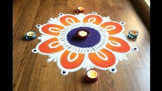 Download Simple, Easy and Quick freehand flower rangoli designs with colours Video