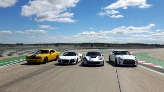 Download DRAG RACE – Nissan GTR vs Corvette Z06 vs Audi R8 vs Dodge Challenger SRT8 Video