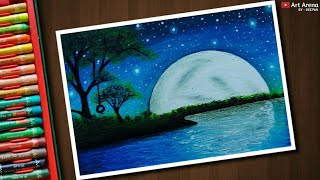 Download Beautiful Moonlight scenery drawing with Oil Pastels - step by step Video