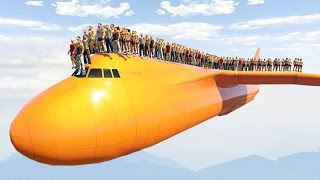 Download 1000 PEOPLE STANDING ON THE PLANE! (GTA 5 Mods) Video