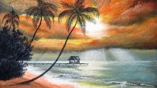 Download How to draw Sunset at Palm Beach with Pastel - Part 1 - Underpainting Video