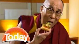 Download Dalai Lama starts eating pizza during interview Video