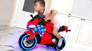 Download Funny Senya Ride on Sportbike Pocket bike Cross bike Unboxing Surprise toys for kids Video