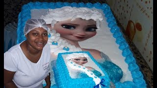 Download Bolo Elsa Frozen com trança de chantilly e papel arroz Video