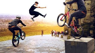 Download Bike vs Parkour Race through Edinburgh Scotland! 8K! Video