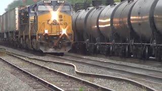 Download Bent Rail BNSF Oil Train Meets CSX Q009 Train Video