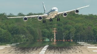 Download CROSSWIND LANDINGS with two GO AROUNDS, Airbus A380, Airbus A340-500, Boeing 757 ... (4K) Video