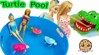Download Disney Frozen Queen Elsa & Barbie Doll Swim In Water Pool with Little Live Pets Sea Turtles Video