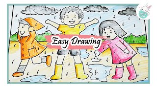 How To Draw Rainy Season Scenery For Kids Step By Step Easy Draw