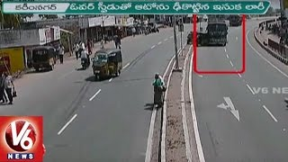 Download Police Released Accident Visuals || Lorry Hits Auto In Bejjanki || Karimnagar || V6 News Video