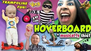 Download HOVERBOARD 1st TIMER w/ Mom & Uncle Crusher / Trampoline Fun / Musical.ly Thief (FUNnel Vision Vlog) Video