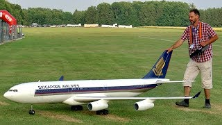 Download HUGE RC AIRLINER AIRBUS A-340 SCALE MODEL TURBINE JET FLIGHT DEMONSTRATION Video