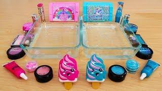 Download Pink vs Teal - Mixing Makeup Eyeshadow Into Slime! Special Series 77 Satisfying Slime Video Video