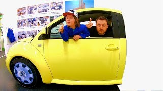 Download Driving in My Car Song   Ride on Yellow VW Beetle at Children's Museum Pretend Play Mechanic Video