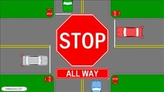 Download Who Has The Right Of Way At A All Way Stop/ Multi Way/ 4 Way Learn Traffic Signs Rules Of The Road Video