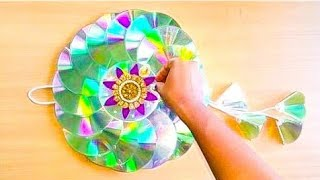 Download DIY CD WALL HANGING FOR DIWALI DECOR/RECYCLED OLD WASTE CD WALL HANGINGS/BEST OF WASTE Video