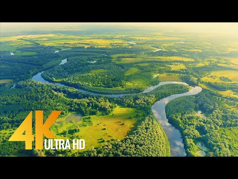 Bird's Eye View of Ukrainian Rivers - Desna River from Above - Ambient Drone Film 4K + Music