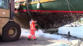Download 3 - Up for Maintenance. Pt. 2. Hose the hull with a high pressure cleaner. 36' Colin Archer. Video