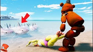 Download GUESS IF TOY CHICA WILL BE SAVED FROM THE HUNGRY SHARKS! (GTA 5 Mods For Kids FNAF RedHatter) Video