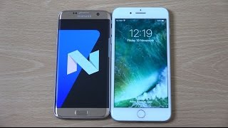 Download Samsung Galaxy S7 Edge Android 7.0 Nougat Beta vs iPhone 7 Plus - Speed Test! Video