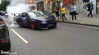 Download Nissan Skyline R33 GTR X2 Shooting Flames and MASSIVE BURNOUT GUMBALL 300 LONDON Video
