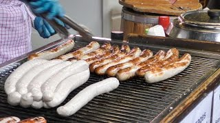 Download German Bratwurst Sausage Tasted in London Street. Borough Market Video