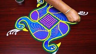Download peacock rangoli designs with dots step by step - pongal kolam designs - 7x1 muggulu design Video