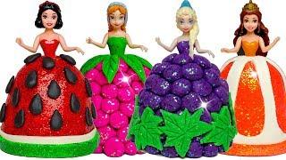 Download Disney Princess Play Doh Sparkle Fruit Dresses for Frozen Elsa & Anna, Belle, Snow White Video